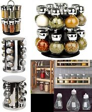 GLASS SPICE HERB JAR JARS REVOLVING STAND RACK HOLDER STAINLESS STEEL