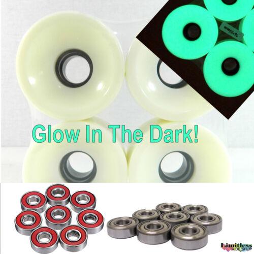 65mm Longboard Wheels Glow In The Dark Optional 7//9 Bearings Skateboard Cruisers