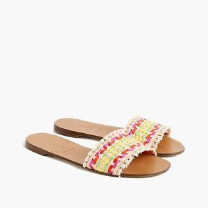 2e8643536 NWT J. Crew Women s Slide Sandals in Multi-Colored Raffia - Size 6 1 ...