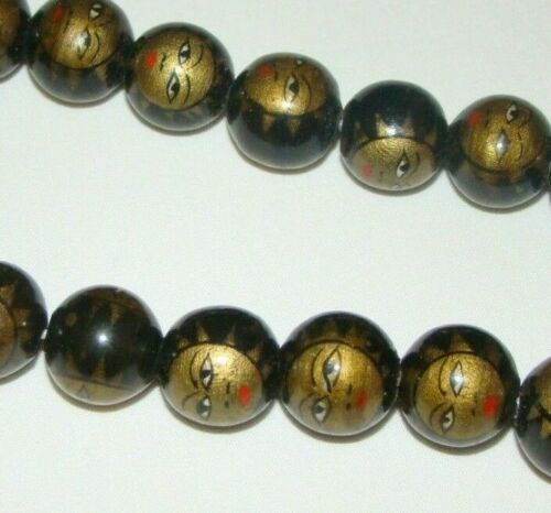 Vintage Black Gold Metallic Painted Wood Sun Face Round Beads14 mm Lot of 20