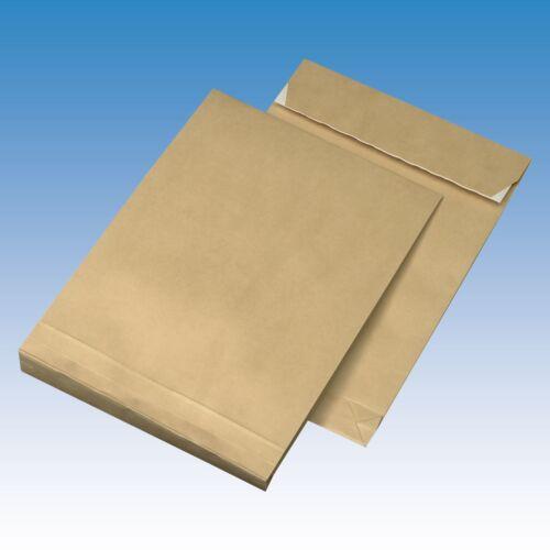 50Faltentaschen Versandtaschen B4-250 x 353 x 40 mm 130gm² Klotzboden 4cm