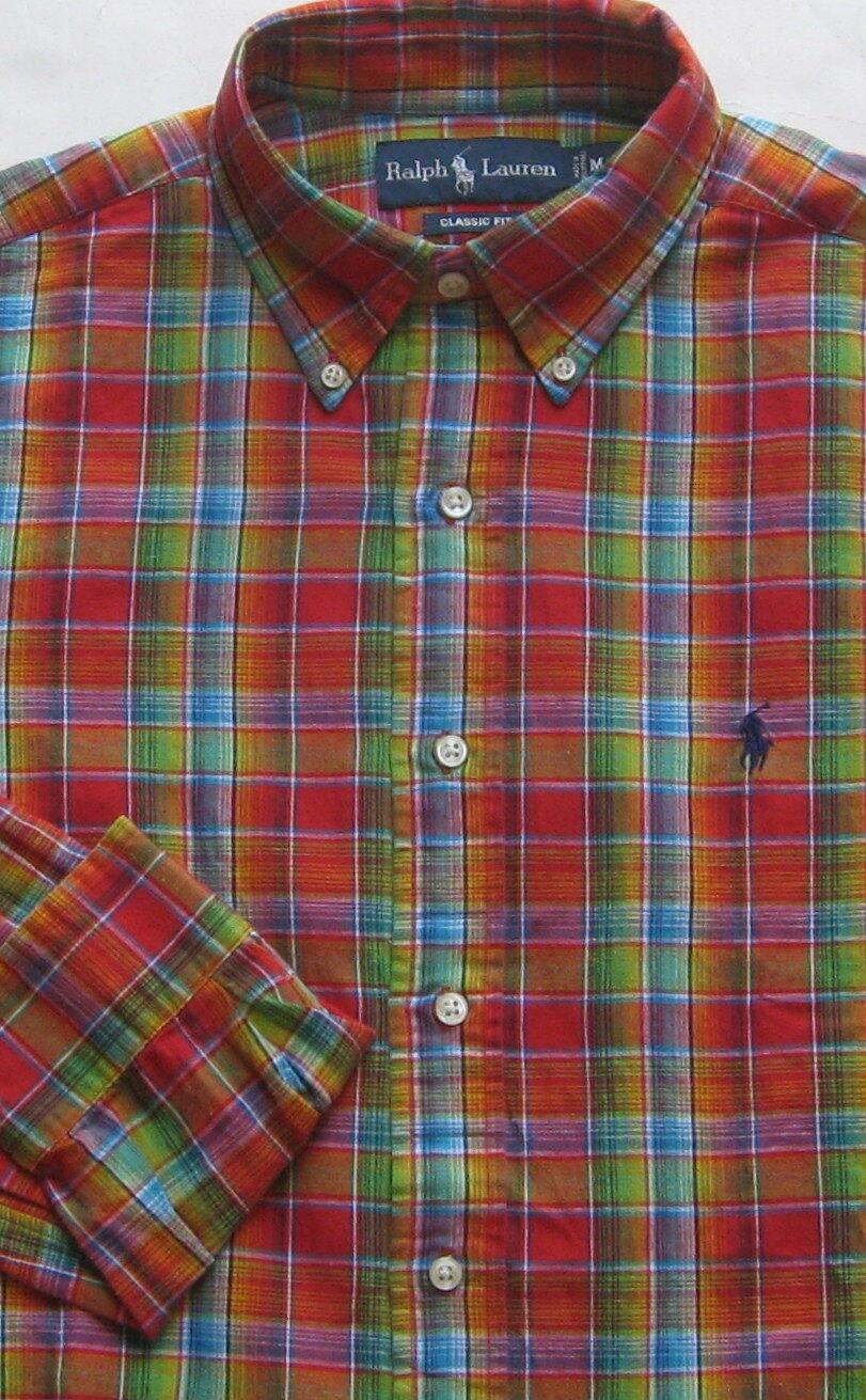 New Polo Ralph Lauren Long Sleeve Multi color Plaid Cotton-Linen Shirt    Large