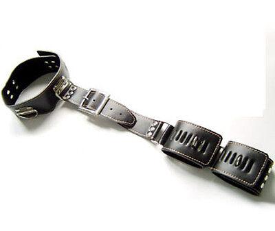 Genuine Leather Neck Collar & Wrist Cuffs Restraint Binder with locks
