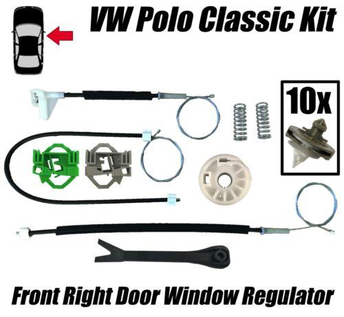 VW Polo Classic//VW CADDY MK2 Fenêtre Régulateur Réparation Kit Avant Côté Droit Set