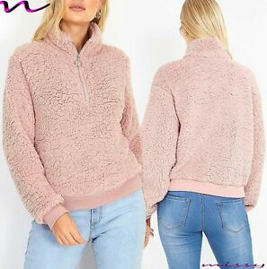 Femme-Hiver-fourrure-moelleuse-Sweat-Pull-Cardigan-Tops-Pull-over-Borg-a