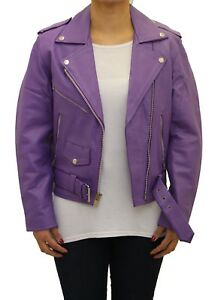 Belted Motorbike Biker Fitted Jacket Hide Brando Ladies Short Purple Leather 18xFv
