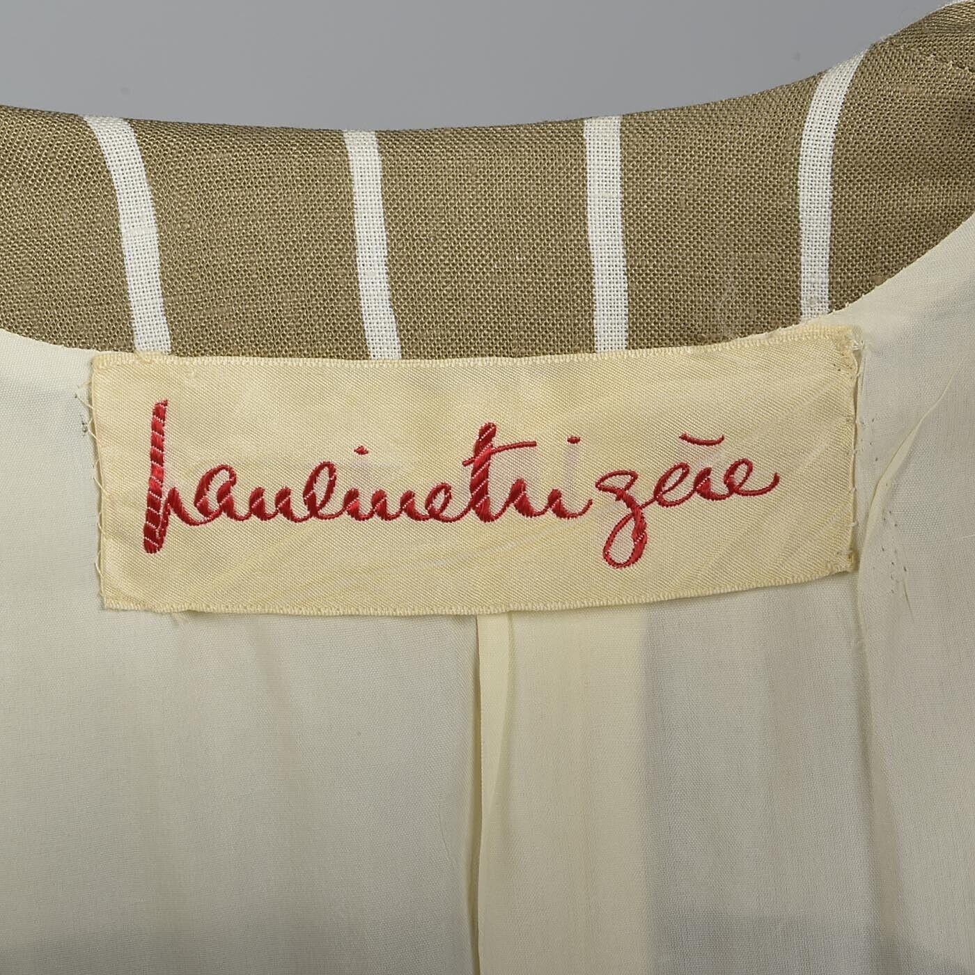 L Vintage 1980s 80s Pauline Trigere Striped Skirt… - image 5