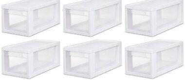 Sterilite Narrow Modular Stacking Storage Box Containers (6 Pk)