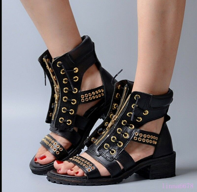 New Wouomo Summer stivali Sandals Open toe Hollow out Zip scarpe Leather Roman