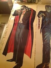 TWO Rare 6 foot FRANKENSTEIN and DRACULA in LIVING COLOR 60's comic book novelty