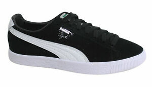 Puma Clyde Lace Up Black Leather Suede Mens Trainers 361703 01 ...