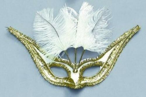 Gran Gala Domino Eye Mask With Feathers White Fancy Dress