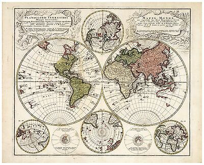 1746 Papier//Leinwand Alte Dekorative Weltkarte Homann ca