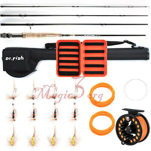 Fly Fishing Rod Reel Combo Portable 9FT Compelete Kit Line Leader Fry Files Case