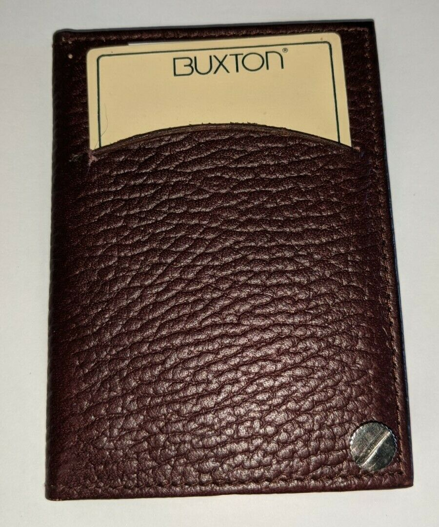 Buxton Genuine Leather Fan Card Case, Brown