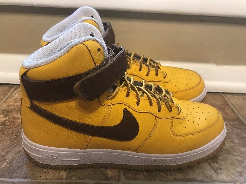 NIKE AIR FORCE 1 HIGH TOP ID Yellow Brown Rare Shoe OCTOBER  SIZE 9.5 808785-995