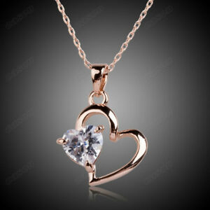 c326b4f695f Image is loading Women-Cubic-Zirconia-Love-Heart-Pendant-Necklace-18K-