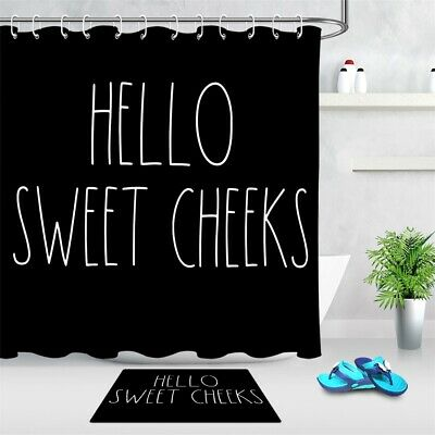 Details about  /Sweet Cheeks Funny Words Black Background Waterproof Fabric Shower Curtain Set
