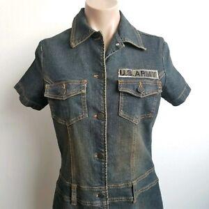 cac3f31b Denim Sheath Straight Dress Sand Blast Dark Wash Button Down Dress ...