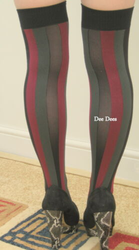 Pamela Mann Vertical striped over knee stocking socks hen night school girl