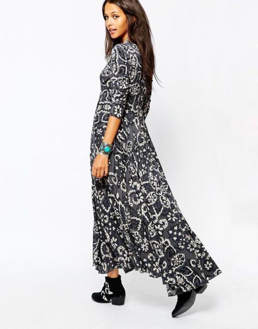 9f45da257c NEW Free People First Kiss Maxi Dress Size XS Gray Shark Combo Boho NWT