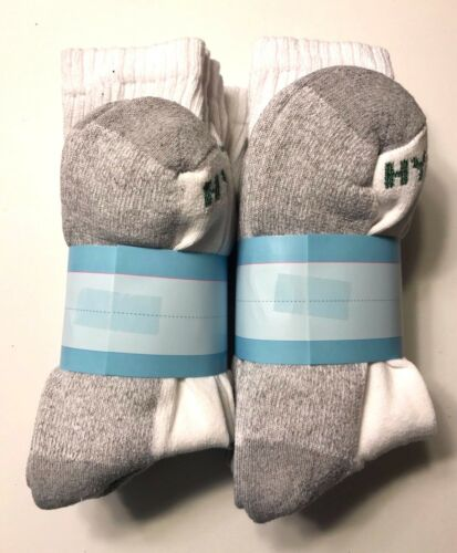3//6//12  Men HYTEST White w//Gray Cushion Bottom Work Sport Crew Sock Size10-13