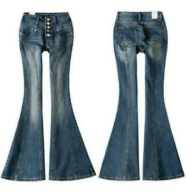 Womens Denim Pants Slim Fit Mid Waist Bell-bottom Jeans Trousers Retro Long Chic