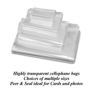 Pack of 100 Cellophane Cello Greeting Card Display Bags 30 Micron Self Seal 87mm x 113mm C7