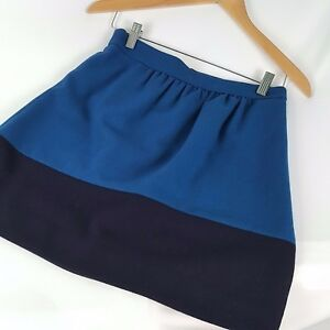 J-Crew-Factory-Colorblock-Wool-Blend-Mini-Skirt-Blue-Black-Career-Size-2