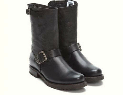 Frye Women's Veronica Short Black Leather Mid Calf Boots Size 6 M