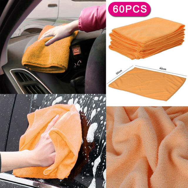 BLUE CAR CLEANING DETAILING MICROFIBER SOFT POLISH CLOTHS TOWELS LINT-FREE