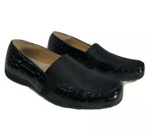 Pierre-Dumas-Womens-Size-8-Croc-Print-Comfort-Loafers-Slip-On-Shoes-Black