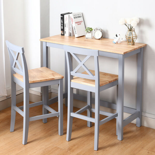 Wooden Bar Table Large Breakfast Kitchen Rustic Dining Pub 6 High Stools Set 7pc For Sale Ebay