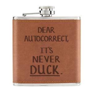 Dear-Autocorrect-It-039-s-Jamais-Canard-170ml-Cuir-PU-Hip-Flasque-Fauve-Spellcheck