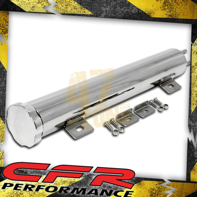 """13/""""x2/"""" Stainless Steel Radiator Overflow Tank Universal Twist In Cap Chevy Ford"""