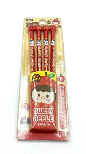 New 4PCS #2 B I Love Apple Cute Red Pencil// Red Apple Eraser School Office Home