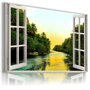 RIVER-FOREST-3D-Window-View-Canvas-Wall-Art-Picture-Large-SIZES-W280-MATAGA