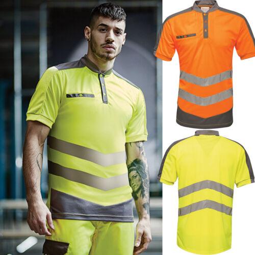 Hi-Vis Polo Shirt Men's Neon Safety Clothing Workwear Shirt T-Shirt