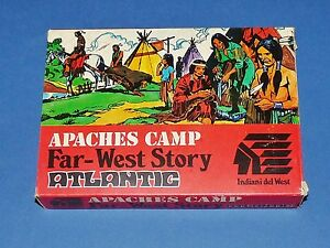RARE-VINTAGE-ATLANTIC-1106-1975-APACHES-CAMP-SUPERBE-BOITE-HO-INDIANI-DEL-WEST