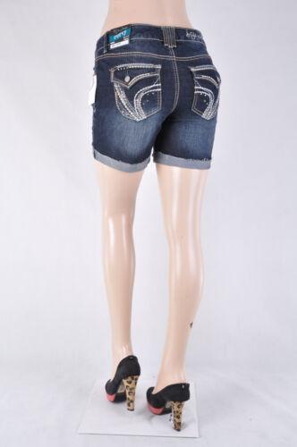 Women Plus Curvy fit  Stretch denim SHORTS Dark Denim wash turn up bottom,WG-165
