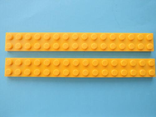 Lego 2 x Platte Bauplatte flach 4282   2x16  gelb