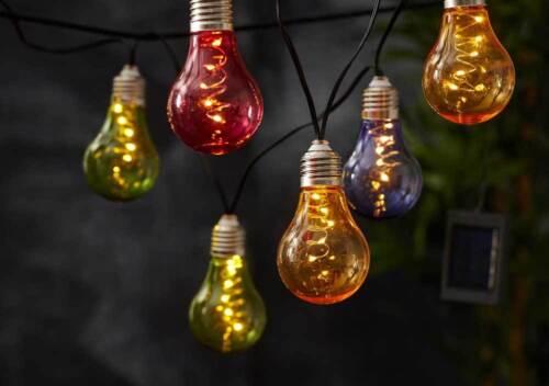"""Solar Lichterkette 10 /""""Glühbirnen/"""" je 5 LEDs am Draht 50 LEDs bunt o klar Außen"""