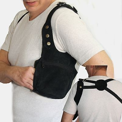 Halfter Schultertasche Leder Holster Schulterholster  goa psy security Schwarz
