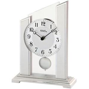 100% Wahr Neu Ams Tischuhr Pendeluhr Alu Silber Glas Büro Business Schreibtisch Kamin Uhr