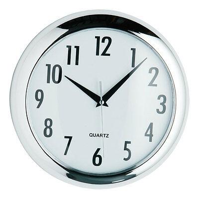 New Halo Round 24cm Modern Chrome Quartz Wall Mounted Clock Kitchen Bedroom Home