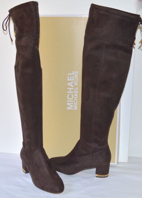 501598a2dee New  229 Michael Kors Jamie Mid Boots Stretch Suede Tall Coffee Brown Over  Knee
