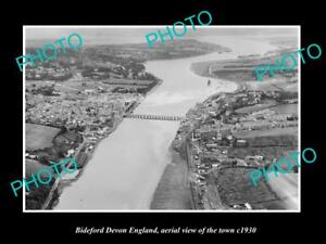 OLD-LARGE-HISTORIC-PHOTO-OF-BIDEFORD-DEVON-ENGLAND-AERIAL-VIEW-OF-TOWN-c1930-1