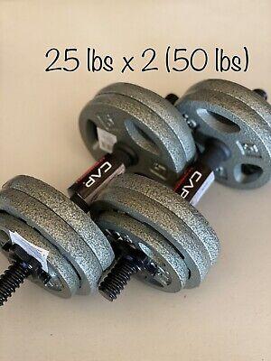 """40lbs Total W// 2 CAP Handles 2-10lb 2-5lb 4-2.5lb New 1"""" Weight Plates"""