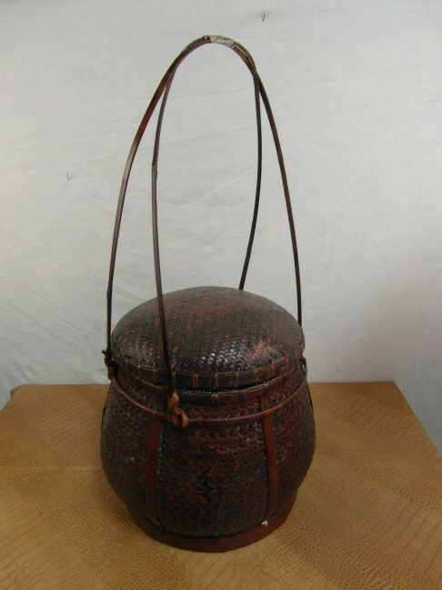 Cesto antico flechtkunst PORTALAVoro cucito 1910 ORGINAL intrecciati a maglia da collezione 13e1