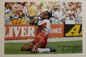 MARTIN-OFFIAH-Wigan-Rugby-HAND-SIGNED-12-034-X-8-034-Photo-COA-Chariots-England